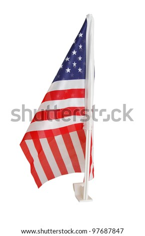 A holiday us flag of window car