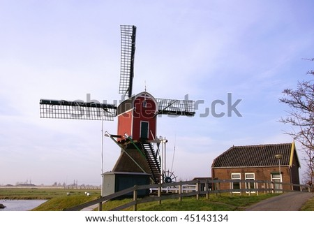 A hollow post mill in the Netherlands