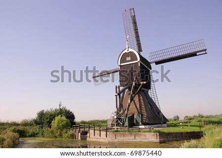 A hollow post wind mill near Kinderdijk in the Netherlands
