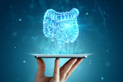 A holographic projection of an intestinal scan over a smartphone. Concept of new technologies, bowel disorder, body scan, digital x-ray, abdominal organs, modern medicine. 3D illustration, 3D render