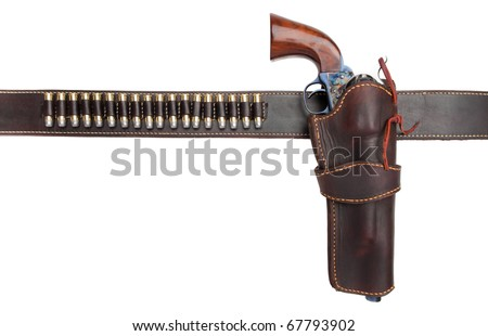 A holster belt with a revolver and ammunition. Isolated on a pure white background.