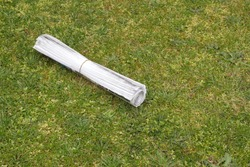 A home delivered newspaper, thrown on the lawn.