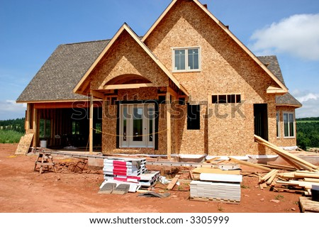 A home in a part of the construction phase. - stock photo