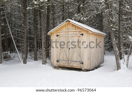 A home made wood shed with forest behind, in winter.