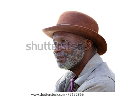 A homeless African-American man in Southern California isolated on white.