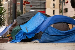 A homeless encampment on the streets of Downtown Los Angeles.