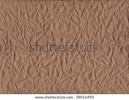 A horizontal view of crumpled kraft paper
