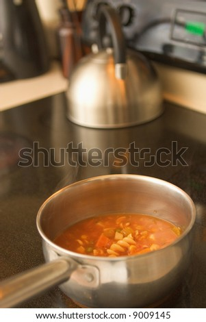 A horizontal view of vegetable soup cooking in a pot on a glass top stove.