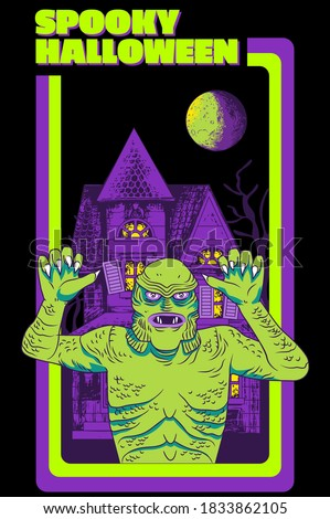 A horrific design for Halloween with mummy ghost and spooky haunted house