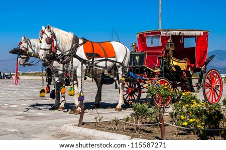 A horse cart on road in Izmir,Turkey