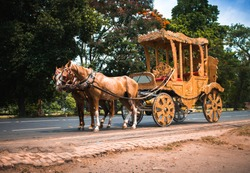 A horse drawn carriage in front of an yellow taxi in Kolkata India