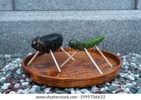 A horse made of cucumber and a cow doll made of eggplant, which are used for ancestor memorial services in Japan in the summer. Foto stock ©