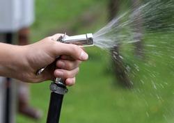 A hose bib spraying water into the garden.