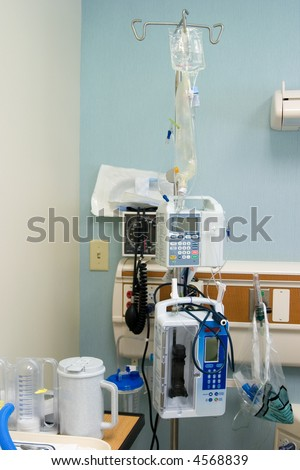A hospital monitors many vital signs.  This is a picture of actual equipment used after back surgery
