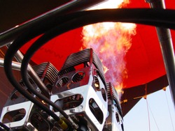 A hot air balloon burner with the flame at full bore