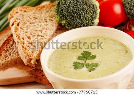 A hot bowl of homemade cream of broccoli soup
