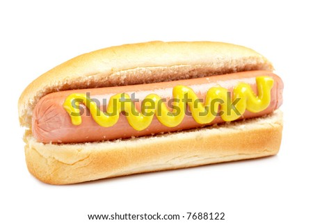 A hot dog with mustard and soft shadow on white background. Shallow DOF
