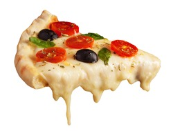 A hot pizza slice with dripping melted cheese. Isolated on white.