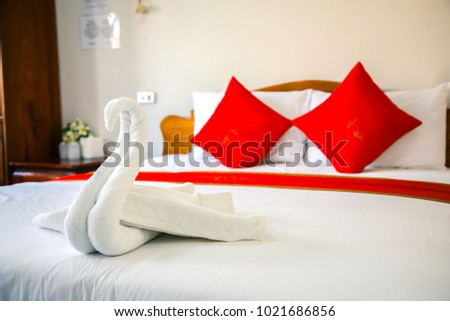 A hotel room, bedroom with  beds, curtain, lighting front view at the day in holiday #1021686856