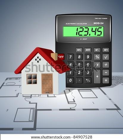A house and a calculator placed on a blueprint / House planning