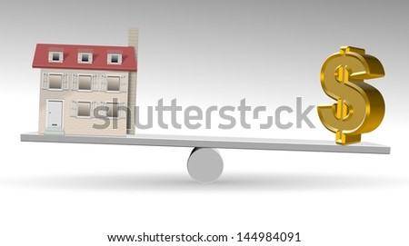 A house and golden dollar symbol on a see saw / Property value