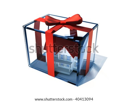 A house in a glass present box - 3d render - stock photo