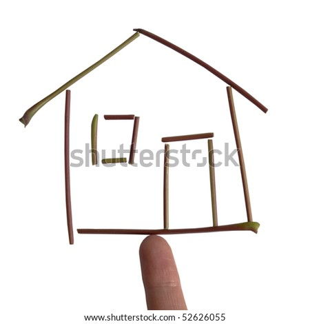 a house made of little branches on the finger
