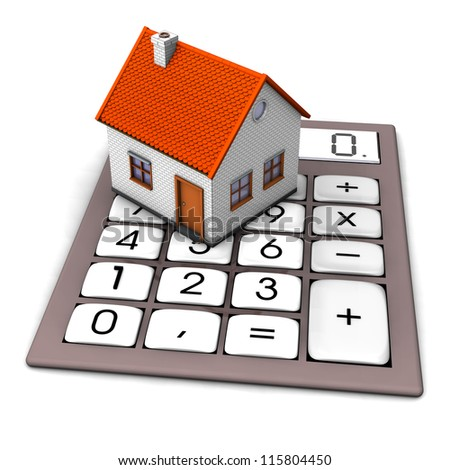 A house on the big pocket calculator. White background. - stock photo