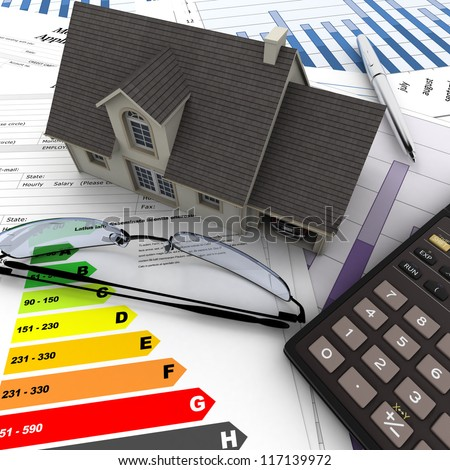 A house on top of a table with  mortgage application form, calculator, blueprints, etc.. - stock photo
