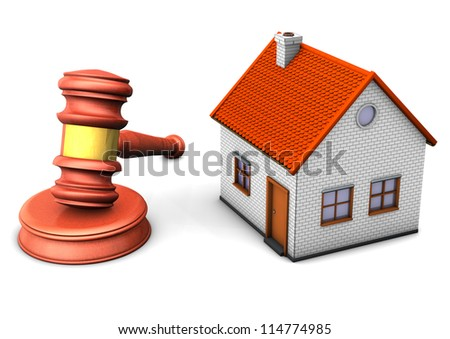 A house with hammer on the white background.