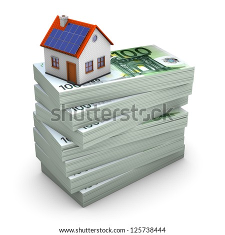A house with solar panels on the hundred euro notes. White background.