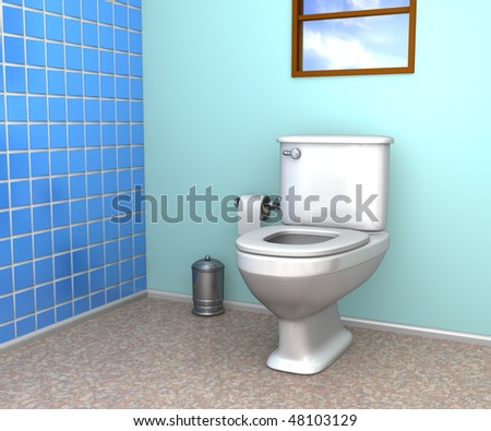A household bathroom with toilet, tiled wall and window