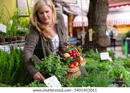 A housewife buys fresh herbs at a market