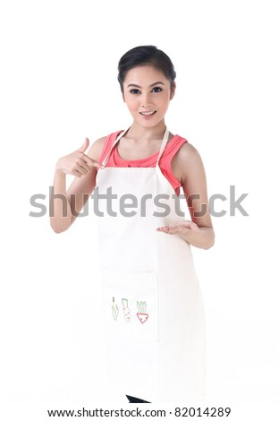 A housewife pointing to her empty hand which holding your product