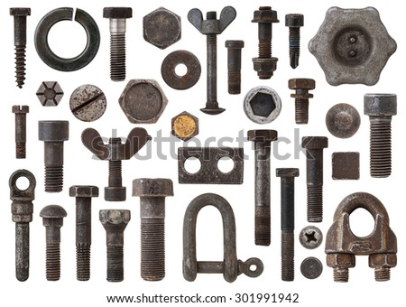 A huge collection of rusty bolts, screws, nuts and other Items by iron. Excellent for adding texture and extra details to your designs stock photo