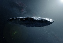 A huge gray asteroid in deep space. Elements of this image were furnished by NASA