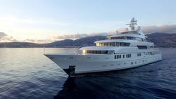 A huge motor yacht underway