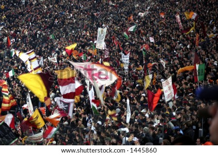 A huge of Roma ultras fans in a football match in Rome italy 2006 - stock photo