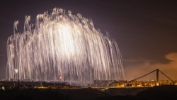 A huge palm of light created by fireworks over the city of Elche in Spain