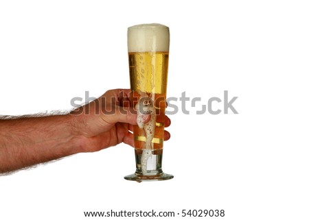 a human arm holds a glass of beer  isolated on white