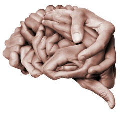 A human brain made with hands, different hands are wrapped together to form a brain. Colored with white background.