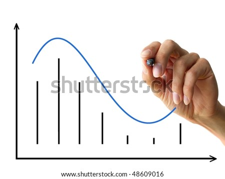 a human hand drawing a business chart isolated on a white background