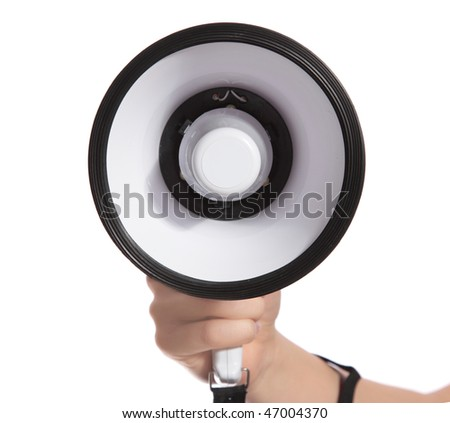 A human hand holding a standard megaphone. All isolated on white background.