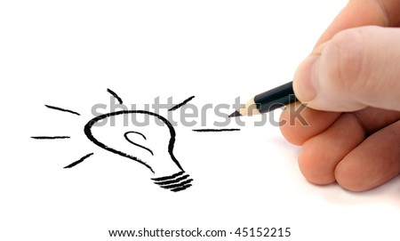 A human hand sketching a stylized lightbulb symbolizing a flash of genius. All on white background.