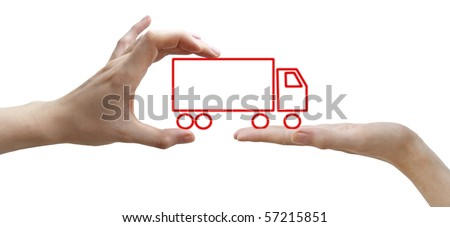 A human hands with concept red truck