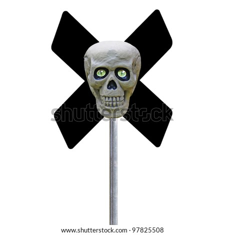A human skull with eyes over red criss crossed signs on a pole representing danger and death to all who care to pass isolated on white.