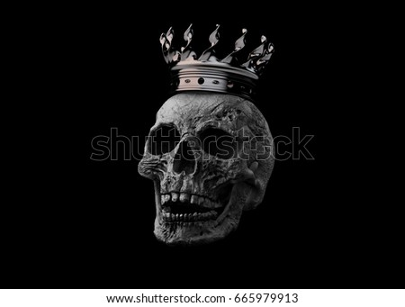 A human terrible skull with a crown is locally deformed in rich colors on a white background. The concept of death, horror. A symbol of spooky Halloween. Illustration of 3D rendering.