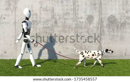A humanoid robot walks a Dalmatian breed dog with a leash on the lawn. Replacing human labor with robotics. Future concept with smart robotics and artificial intelligence. 3D rendering Stock fotó ©