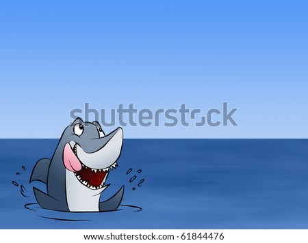 A hungry shark excited about whatever news is floating above him.
