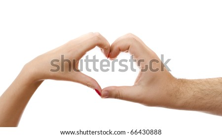 A husband and wife's hands in the shape of a heart.